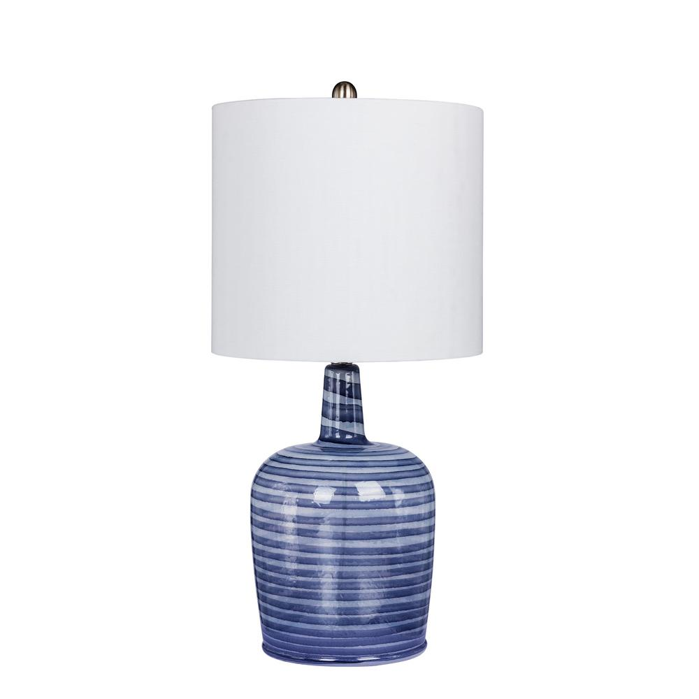 Fangio Lighting 27 in. Bedrock Striped Jug Glass Table Lamp in a Gray and White Striped