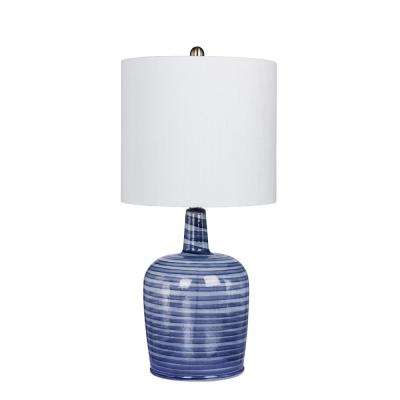 27 in. Bedrock Striped Jug Glass Table Lamp in a Gray and White Striped