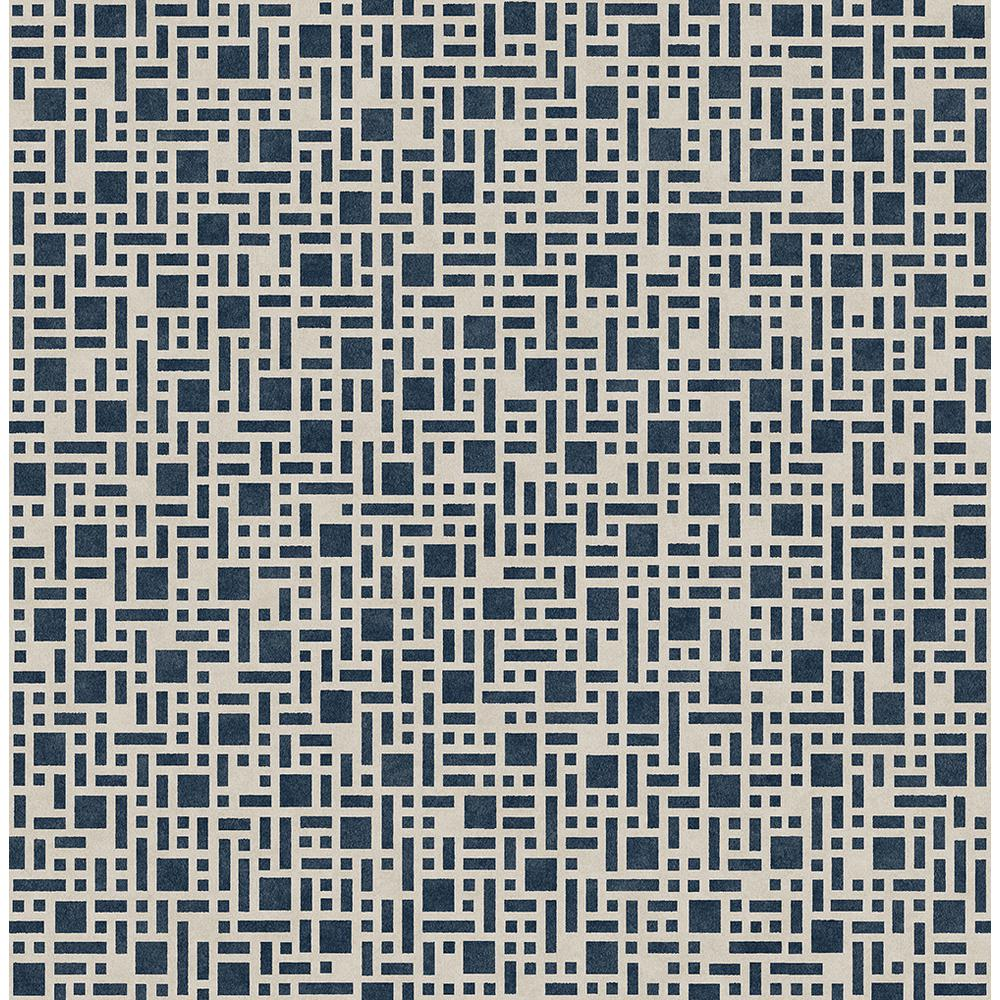 A-Street 56.4 sq. ft. Bento Indigo Geometric Wallpaper