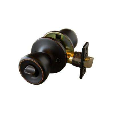 Terrace Oil Rubbed Bronze Privacy Bed/Bath Door Knob with Universal 6-Way Latch