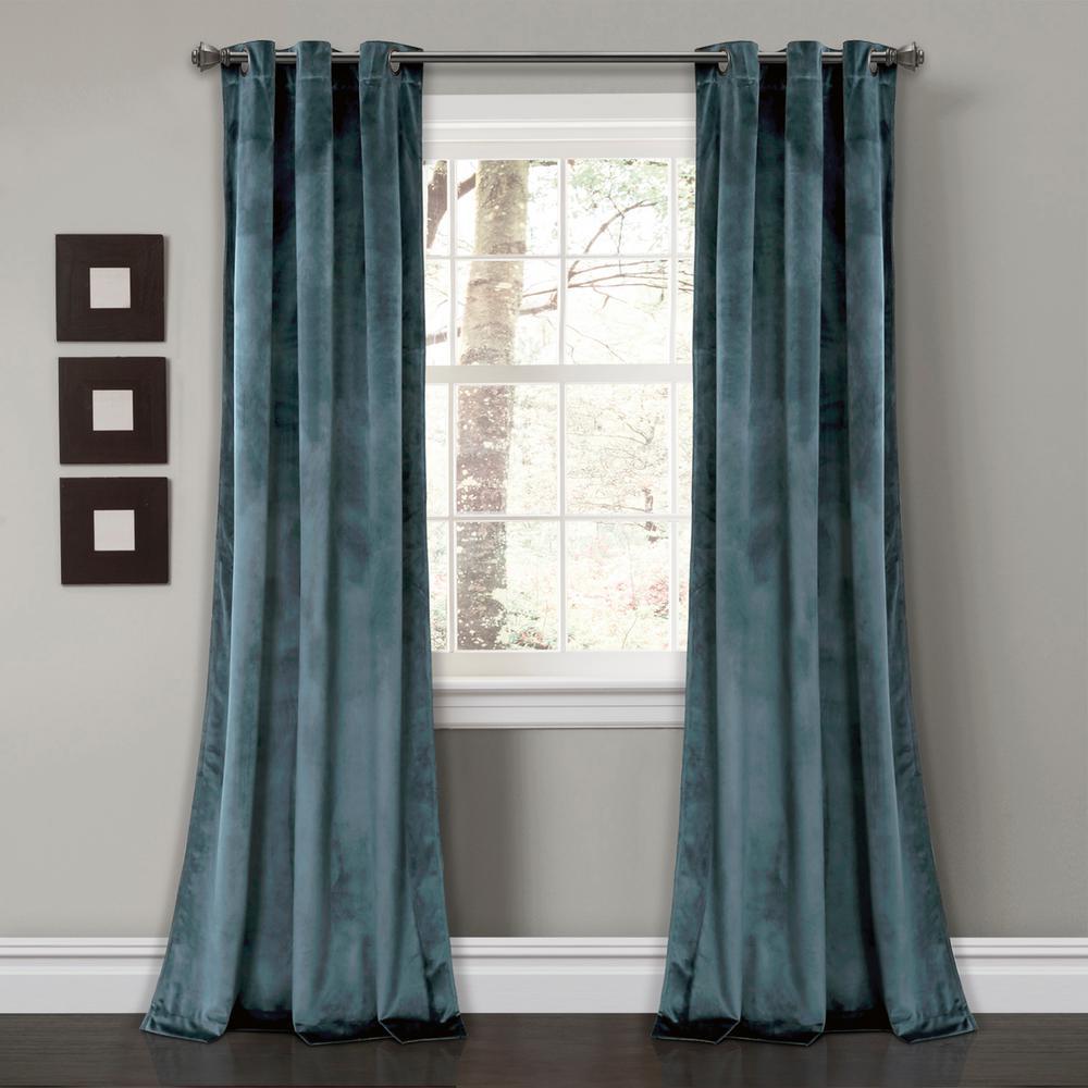 "Prima Velvet Solid Window Panels SlateBlue 84"" x 38"" 2-Pc Set 100% Polyester"