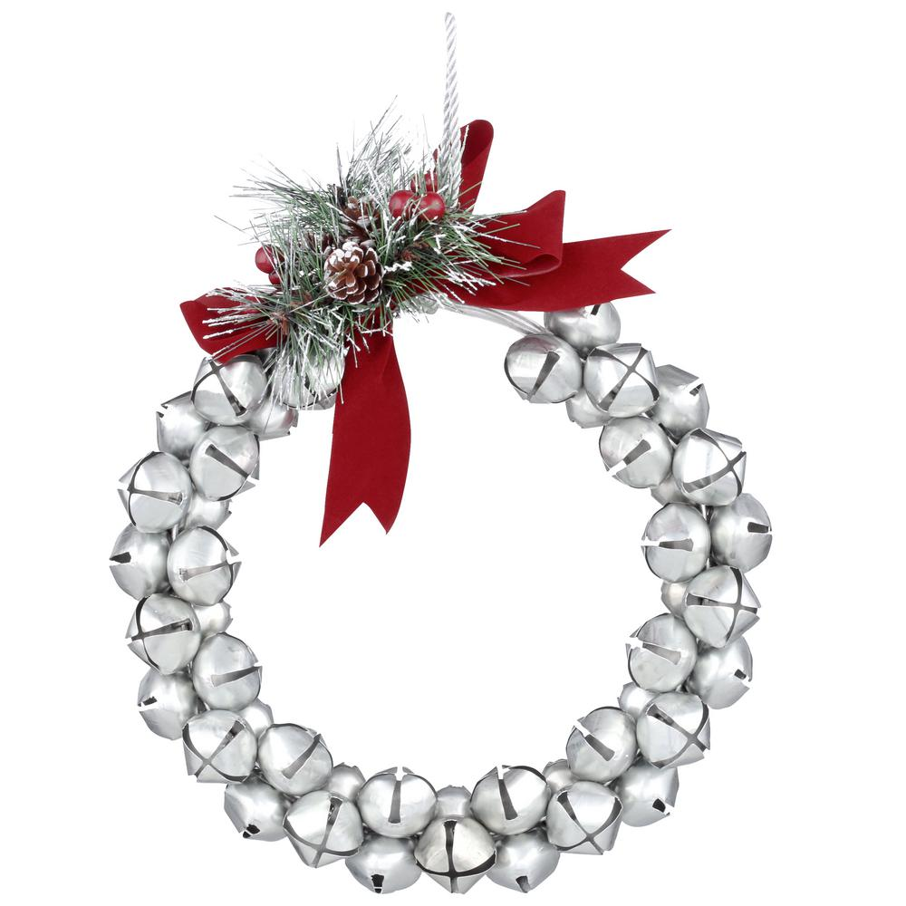 Home Accents Holiday 10 in. Jingle Bell Wreath - Galvanized