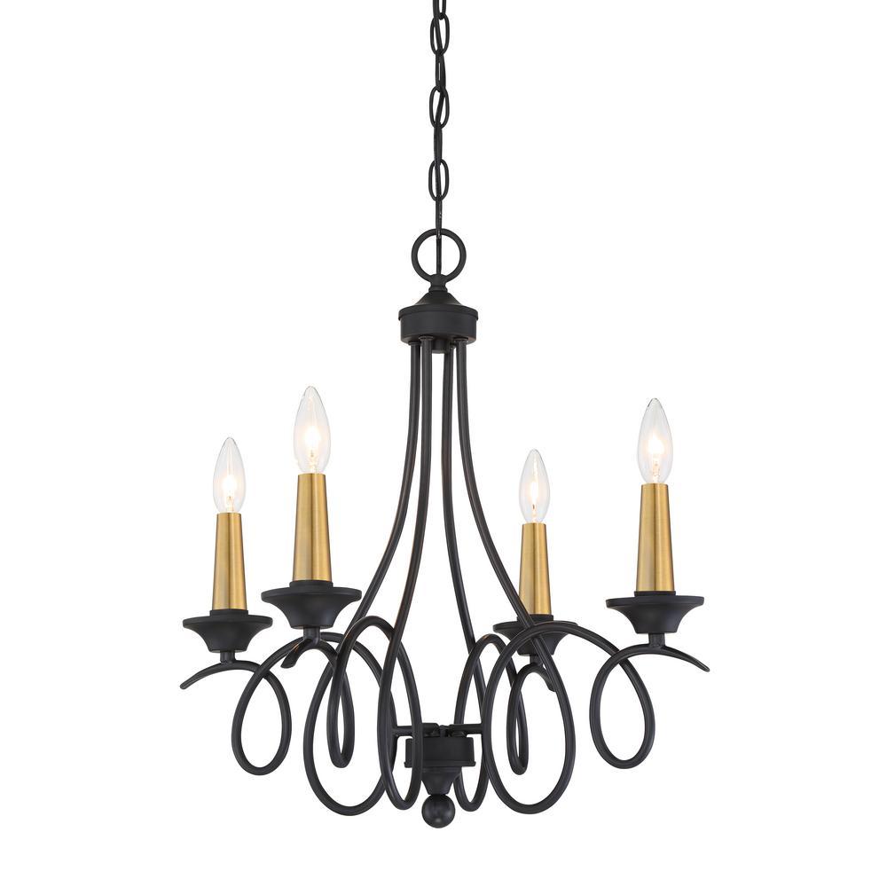 La Courbe 4-Light Black with Antique Brass Chandelier