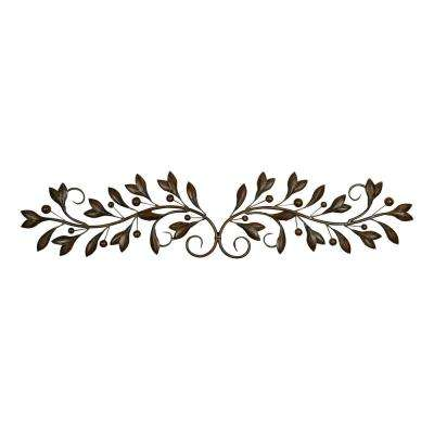 Decorative Bronze Metal Branch Wall Decor with Leaves