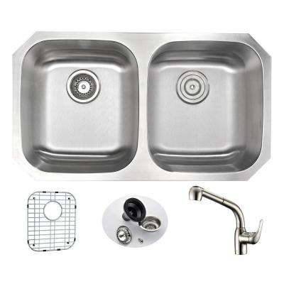 MOORE Undermount Stainless Steel 32 in. Double Bowl Kitchen Sink and Faucet Set with Harbour Faucet in Brushed Nickel