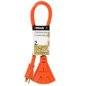 Southwire 2 ft. 12/3 Multi-Outlet (3) Outdoor Extension Cord, Orange by Southwire