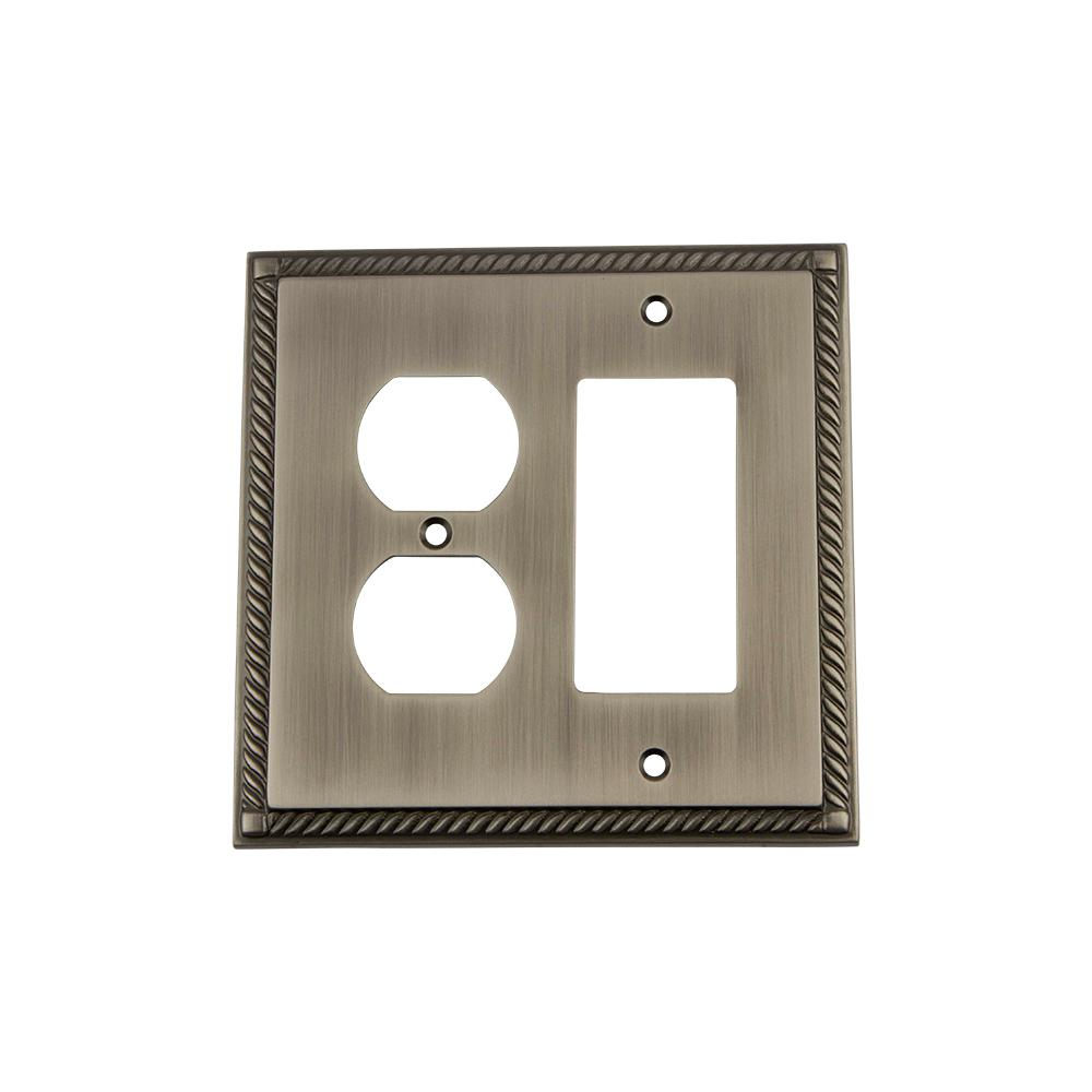 Rope Switch Plate with Rocker and Outlet in Antique Pewter