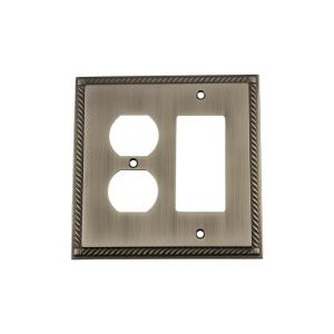 Nostalgic Warehouse Rope Switch Plate with Rocker and Outlet in Antique Pewter by Nostalgic Warehouse