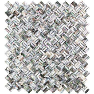 Coule Black Weave Pearl Shell Mosaic Tile - 3 in. x 6 in. Tile Sample
