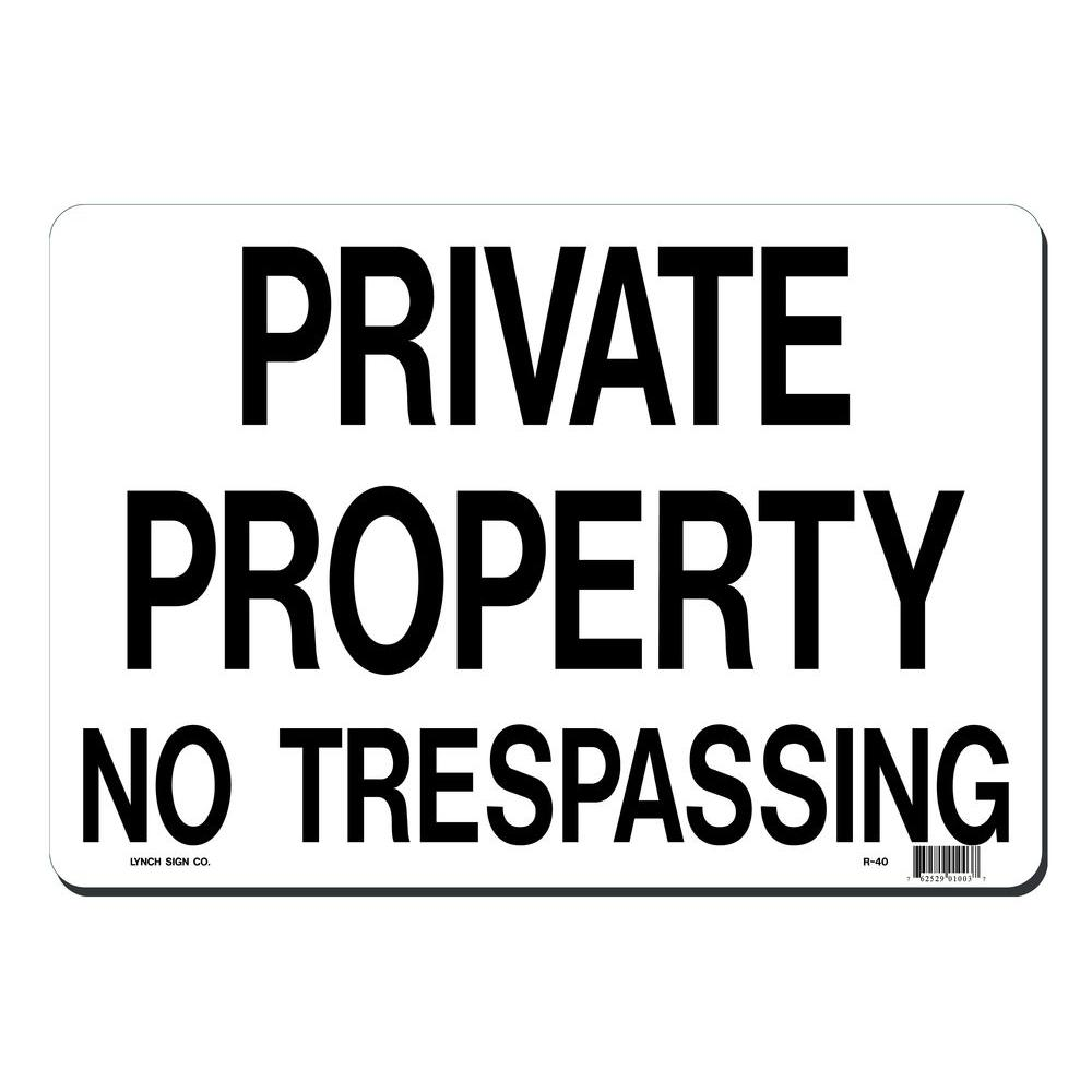 14 in. x 10 in. Private Property - No Trespassing Sign