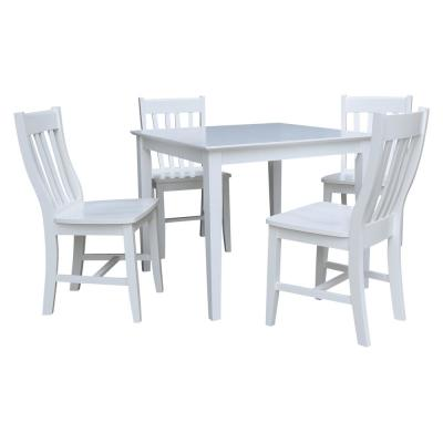 5-Piece 36 in. White Square Dining Table with 4-Cafe Chairs