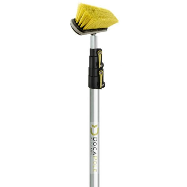 Medium Bristle Deck Brush + 5 ft. to 12 ft. Extension Pole 11 in. Scrub Brush with Telescopic Pole