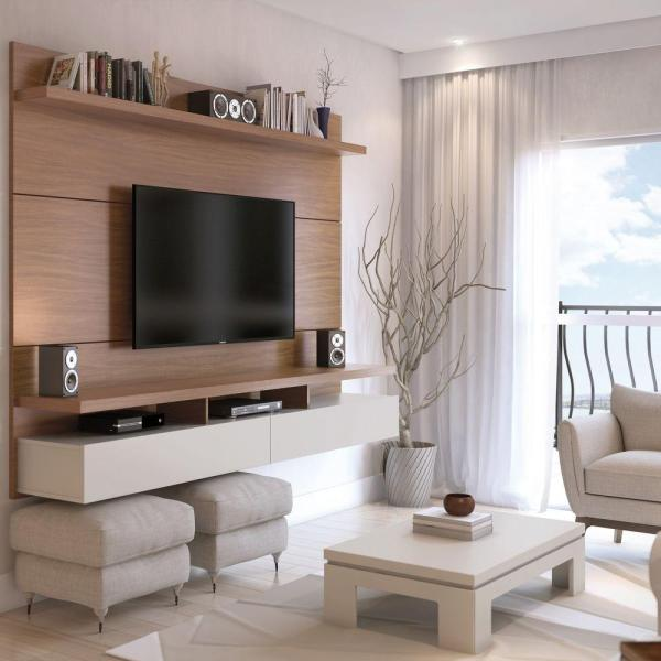City 87 in. Maple Cream and Off White Composite Floating Entertainment Center Fits TVs Up to 80 in. with Wall Panel