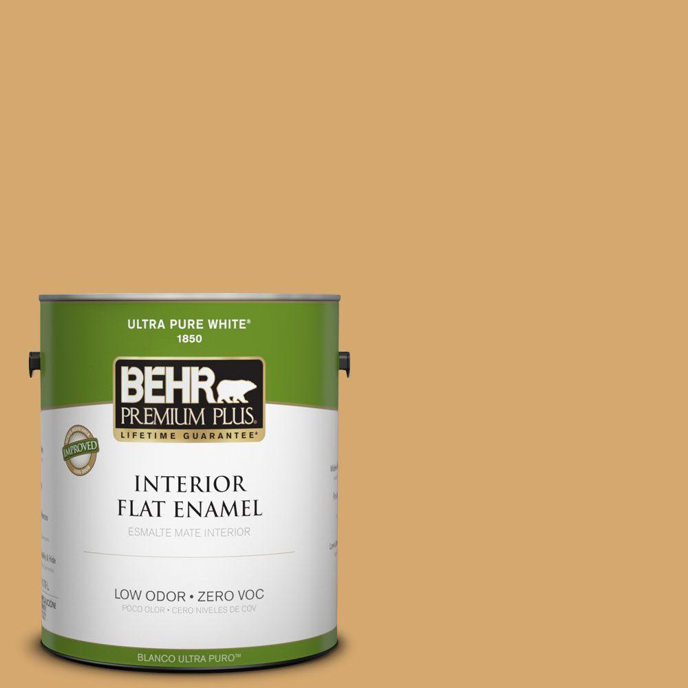 BEHR Premium Plus 1-gal. #ICC-70 Flower Field Zero VOC Flat Enamel Interior Paint-DISCONTINUED