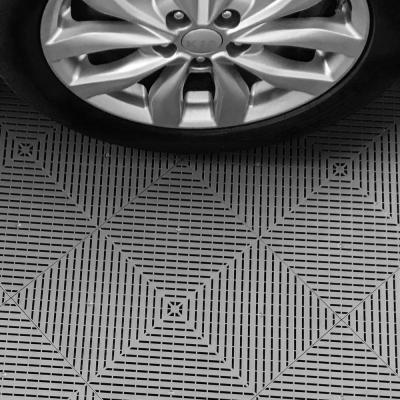 17.5 ft. x 17.5 ft. Black and Silver Checkered Ribtrax Smooth Eco Flooring, Double Car Pad Kit