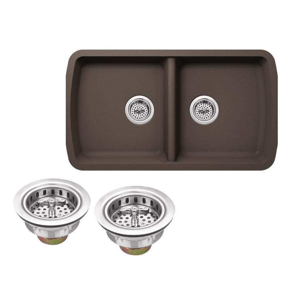 Undermount Granite Composite 34 in. Kitchen Sink in Mocha Brown
