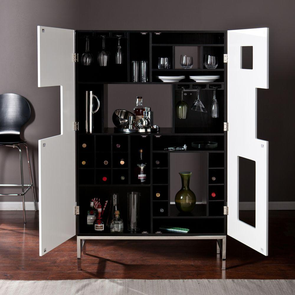 Southern Enterprises Black And White Finish With Stainless Steel Legs Bar Cabinet Hd865911 The