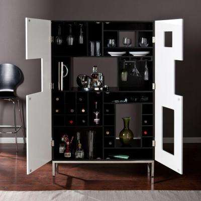 Black and White Finish with Stainless Steel Legs Bar Cabinet