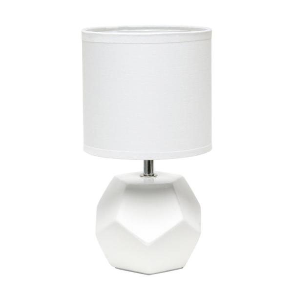 10.4 in. White Round Prism Mini Table Lamp with Matching Fabric Shade