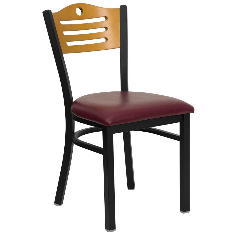 Hercules Series Black Slat Back Metal Restaurant Chair - Natural Wood