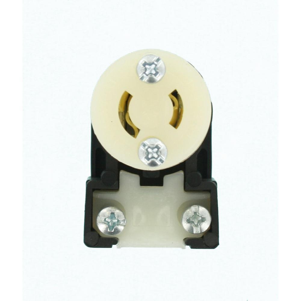 15 Amp 125-Volt Locking Connector Industrial Grade Non-Grounding MiniLock Angle, Black-White