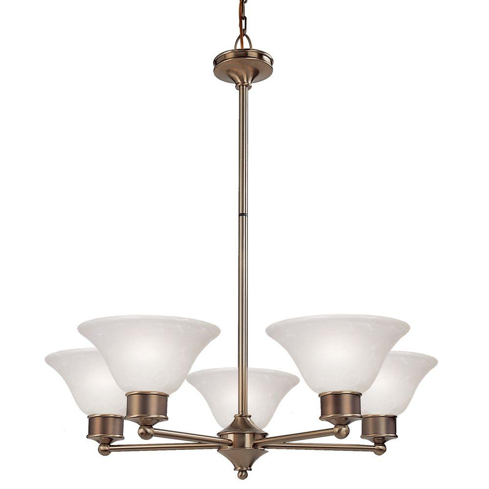 Tulen Lawrence 5-Light Burnished Nickel and Chocolate Incandescent Ceiling Chandelier