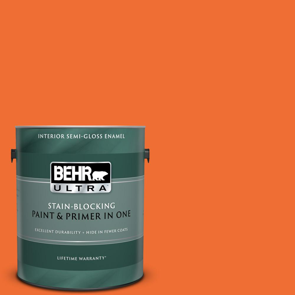 BEHR ULTRA 1 gal  #S-G-240 Dragon Fire Semi-Gloss Enamel Interior Paint and  Primer in One