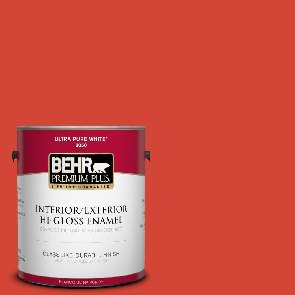 BEHR Premium Plus 1-gal. #S-G-190 Red Hot Hi-Gloss Enamel Interior/Exterior Paint