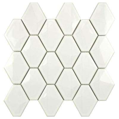 Prism Glossy White 10-1/2 in. x 11 in. x 6 mm Porcelain Mosaic Tile