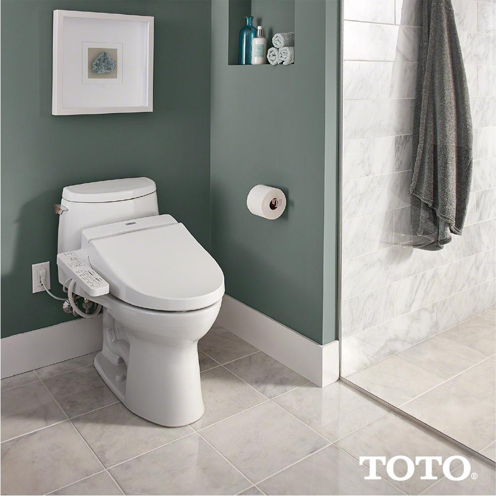 Toto Washlet C100 Electric Bidet Seat For Round Toilet With Premist In Cotton White