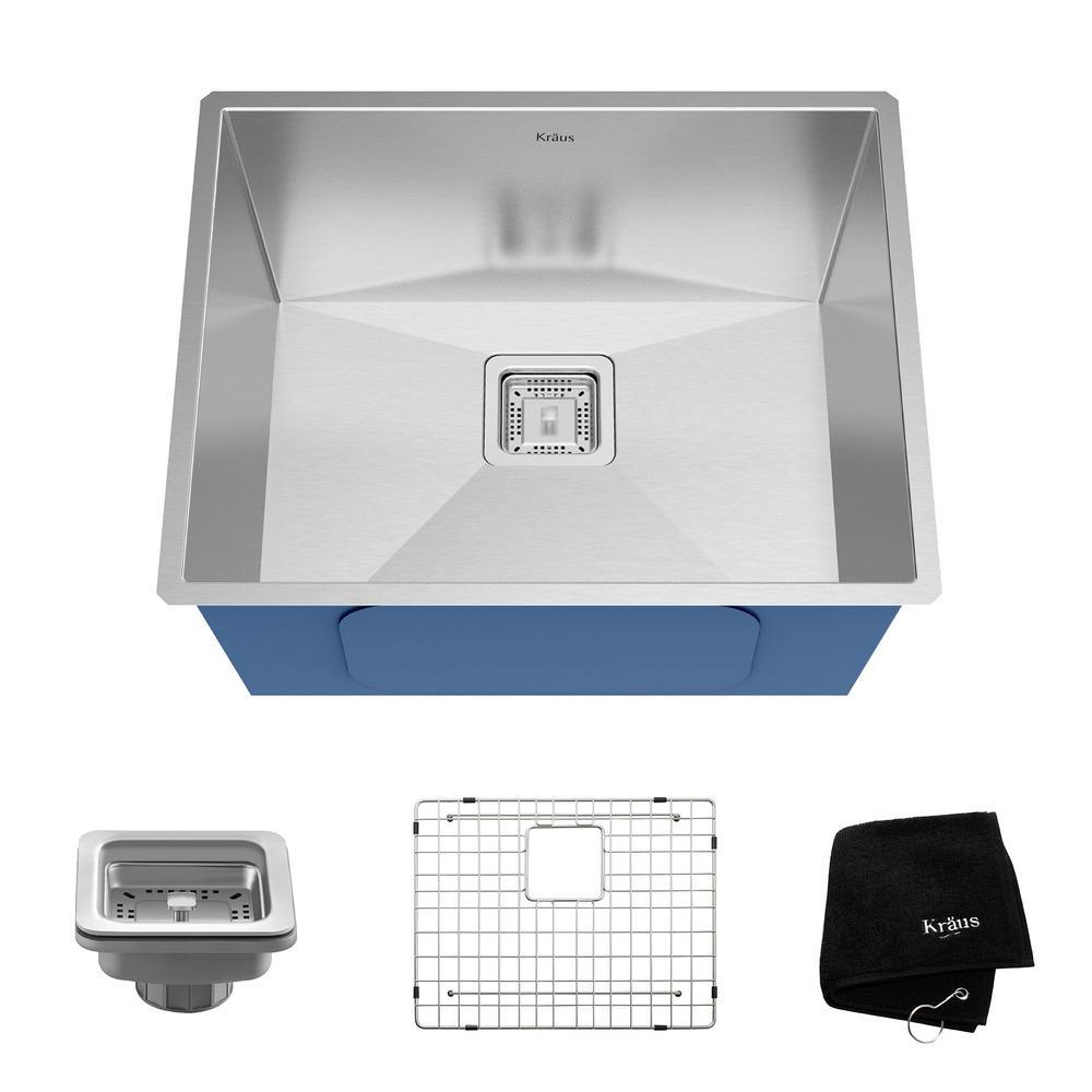 Pax Zero-Radius Undermount Stainless Steel 23 in. Single Bowl Kitchen Sink Kit