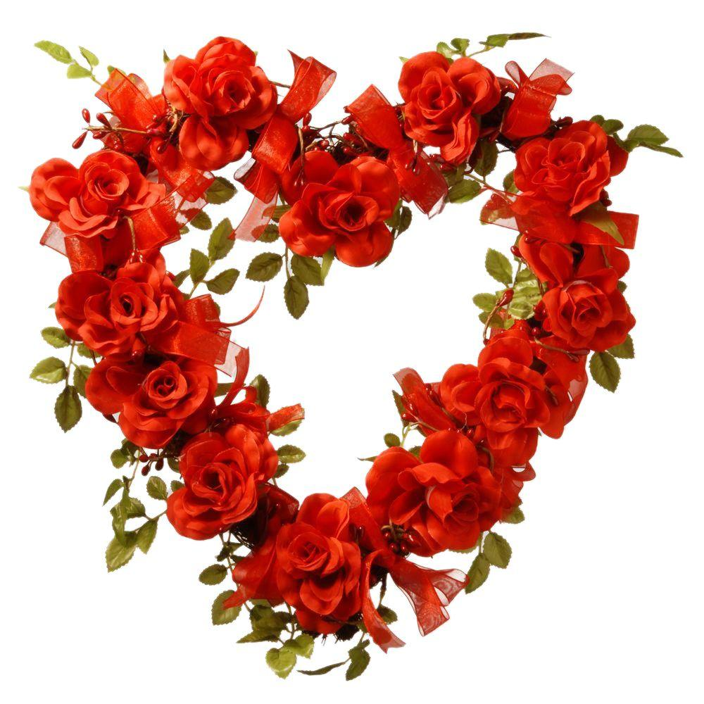 16 in. Valentine Heart Rose Decor