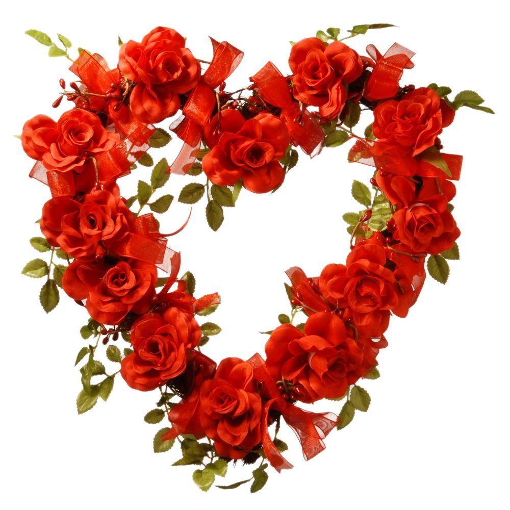 16 in. Valentine Heart Rose Decor