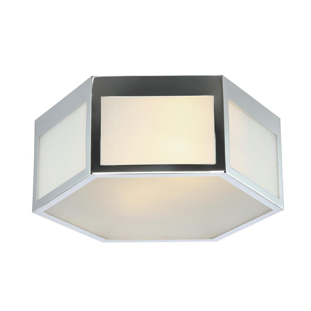 Minimo 13 in.  Chrome Hexagon Metal/Frosted Glass LED Flush Mount