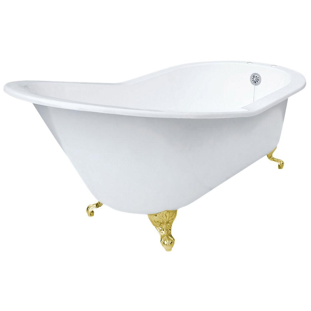 5 ft. 7in. Grand Slipper Cast Iron Tub Rim Faucet Holes