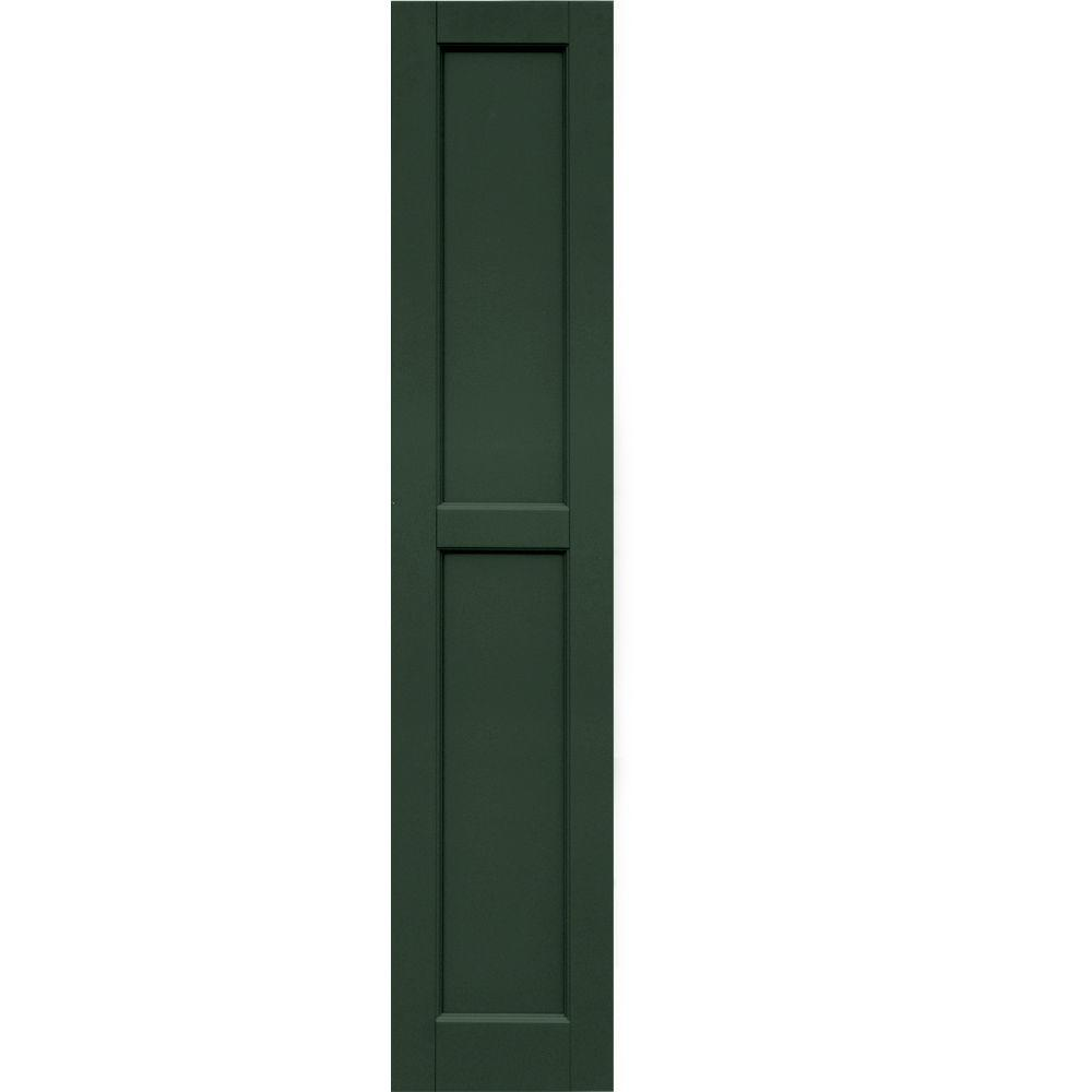 Winworks Wood Composite 12 in. x 59 in. Contemporary Flat Panel Shutters Pair #656 Rookwood Dark Green