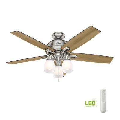 Donegan 52 in. LED Indoor Brushed Nickel Ceiling Fan with 3-Light and bundled with Universal Remote Control