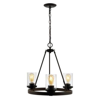 Coronet 20 in. 3-Light Oil Rubbed Bronze Iron/Seeded Glass Rustic Farmhouse LED Chandelier