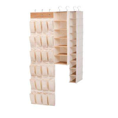 24-Pocket Accessory 12-Pair of Shoe and 10-Self Bamboo Hanging Organizer