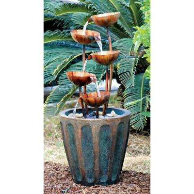 Copper Falls Cascading Stone Bonded Resin Garden Fountain