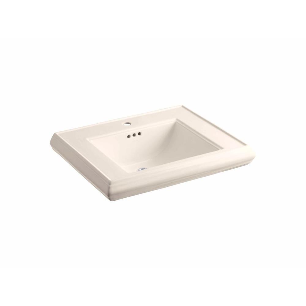 KOHLER Memoirs 5-3/8 in. Ceramic Pedestal Sink Basin Sink in Innocent Blush with Overflow Drain