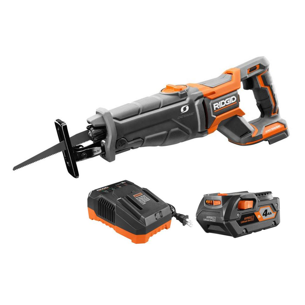 RIDGID 18-Volt OCTANE Cordless Brushless Reciprocating Saw with Blade, 4.0 Ah Lithium-Ion Battery, and Charger was $277.0 now $149.0 (46.0% off)