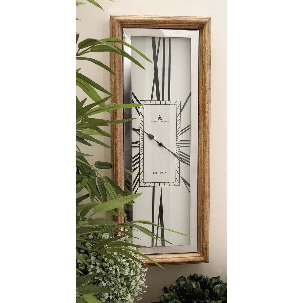 27 in. x 11 in. Stainless Steel and Wood Wall Clock