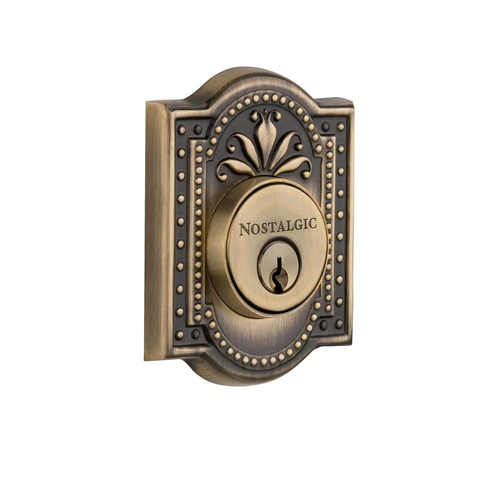 Meadows Plate 2-3/8 in. Backset Double Cylinder Deadbolt in Antique Brass