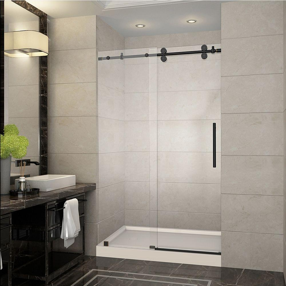 Aston Langham 48 In X 77 5 In Completely Frameless Sliding Shower Door In Oil Rubbed Bronze