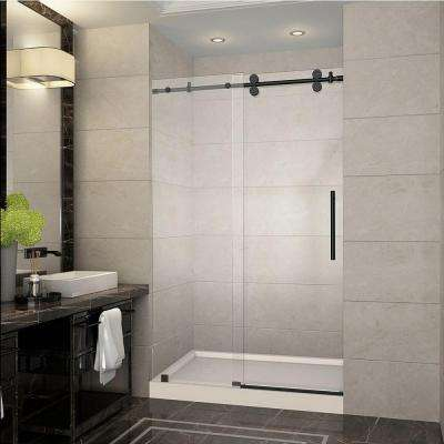 Langham 48 in. x 77.5 in. Completely Frameless Sliding Shower Door in Oil Rubbed Bronze with Right Base