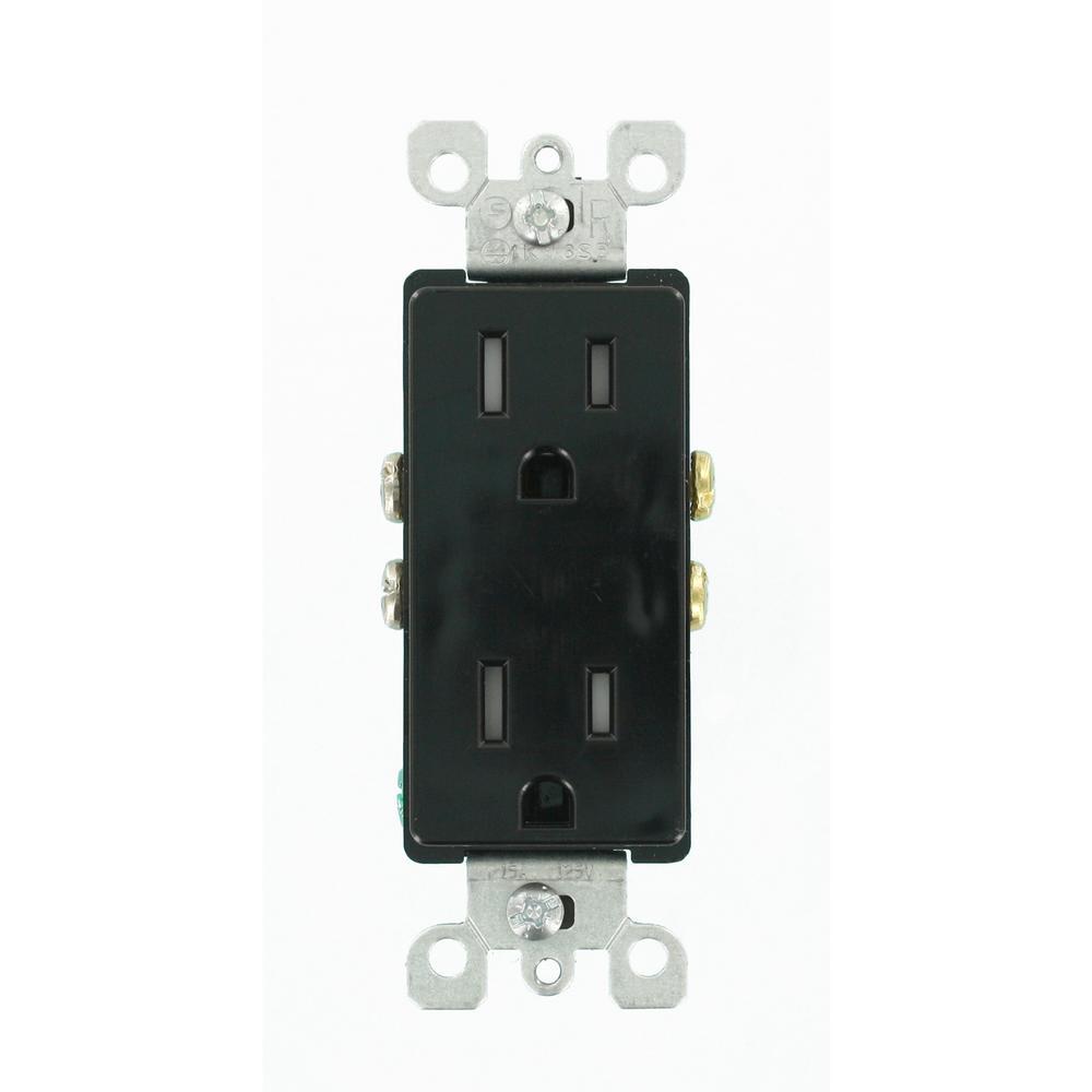 Decora 15 Amp Tamper Resistant Duplex Outlet, Black
