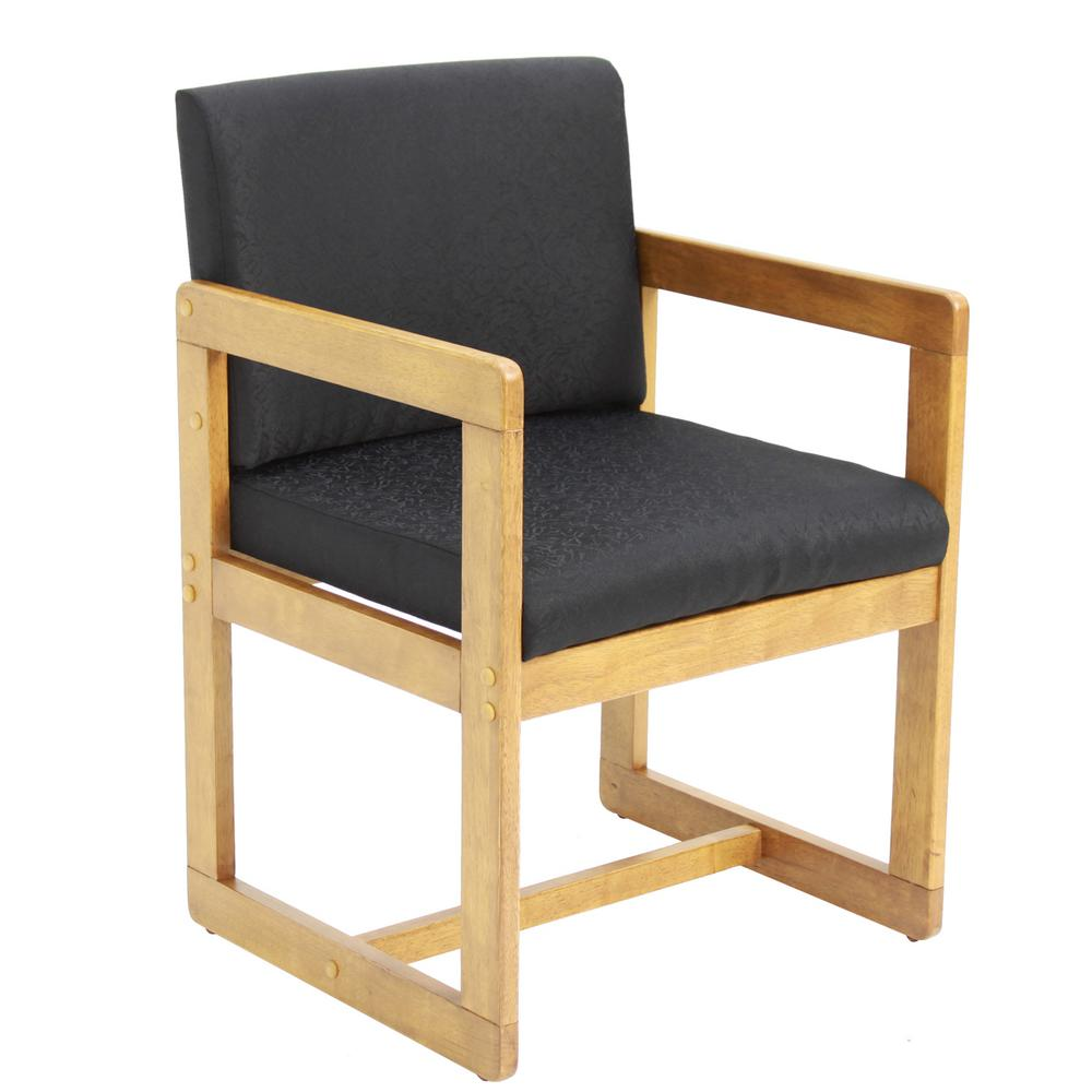 Belcino Medium Oak and Black Sled Base Side Chair with Arms