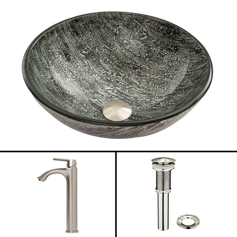 VIGO Glass Vessel Sink In Titanium And Linus Faucet Set In Brushed Nickel
