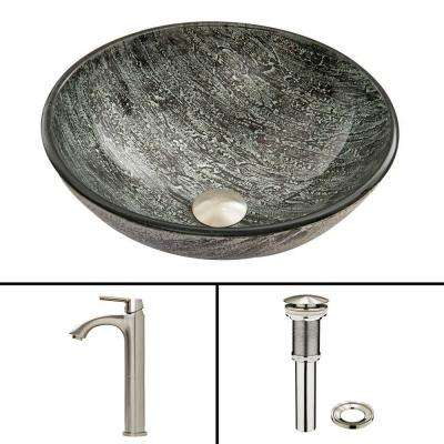 Glass Vessel Sink in Titanium and Linus Faucet Set in Brushed Nickel